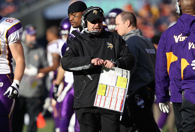 CHICAGO - NOVEMBER 14: Head coach Brad Childress of the Minnesota Vikings watches as his team takes on the Chicago Bears at Soldier Field on November 14, 2010 in Chicago, Illinois. The Bears defeated the Vikings 27-13. (Photo by Jonathan Daniel/Getty Imag
