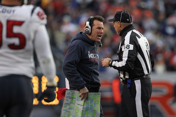DENVER - DECEMBER 26:  Head coach Gary Kubiak of the Houston Texas has words with line judge Tom Stephan #68 as the Texans' face the Denver Broncos at INVESCO Field at Mile High on December 26, 2010 in Denver, Colorado. The Broncos defeated the Texans 24-