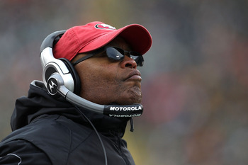 GREEN BAY, WI - DECEMBER 05: Head coach Mike Singletary of the San Francisco 49ers watches as his team takes on the Green Bay Packers at Lambeau Field on December 5, 2010 in Green Bay, Wisconsin. The Packers defeated the 49ers 34-16. (Photo by Jonathan Da
