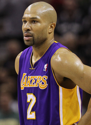 SAN ANTONIO, TX - DECEMBER 28:  Guard Derek Fisher #2 of the Los Angeles Lakers at AT&T Center on December 28, 2010 in San Antonio, Texas.  NOTE TO USER: User expressly acknowledges and agrees that, by downloading and/or using this photograph, user is con