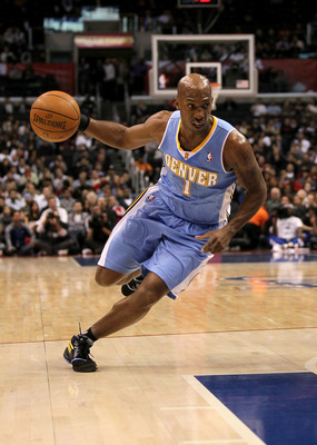 LOS ANGELES, CA - JANUARY 05: Chauncey Billups #1 of the Denver Nuggets drives against the Los Angeles Clippers at Staples Center on January 5, 2011  in Los Angeles, California.  The Clippers won 106-93.  NOTE TO USER: User expressly acknowledges and agre