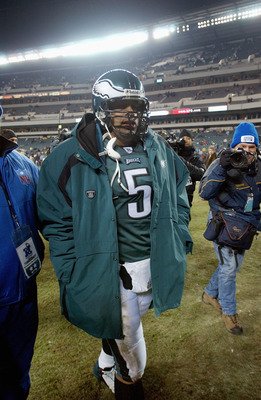 PHILADELPHIA - JANUARY 18:  Quarterback Donovan McNabb #5 of the Philadelphia Eagles walks off the field after loosing the NFC Championship game against the Carolina Panthers at Lincoln Financial Field on January 18, 2004 in Philadelphia, Pennsylvania.  T
