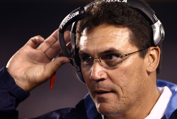 SAN DIEGO, CA - NOVEMBER 23:  Defensive Coordinator Ron Rivera of the San Diego Chargers looks on against the Indianapolis Colts during their NFL Game at Qualcomm Stadium on November 23, 2008 in San Diego, California.  (Photo by Donald Miralle/Getty Image