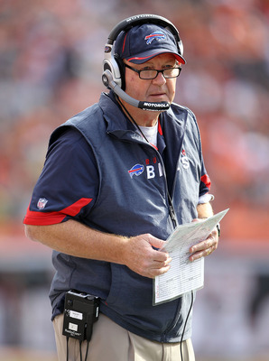 CINCINNATI - NOVEMBER 21: Chan Gailey the Head Coach of the Buffalo Bills watches the action during NFL game against the Cincinnati Bengals at Paul Brown Stadium on November 21, 2010 in Cincinnati, Ohio.  (Photo by Andy Lyons/Getty Images)
