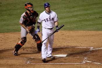 ARLINGTON, TX - NOVEMBER 01:  Josh Hamilton #32 of the Texas Rangers reacts after he struck out in the fourth inning against the San Francisco Giants in Game Five of the 2010 MLB World Series at Rangers Ballpark in Arlington on November 1, 2010 in Arlingt