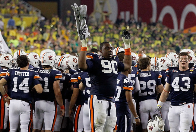 GLENDALE, AZ - JANUARY 10:  Nick Fairley #90 of the Auburn Tigers takes the field to start fourth quarter against the Oregon Ducks during the Tostitos BCS National Championship Game at University of Phoenix Stadium on January 10, 2011 in Glendale, Arizona