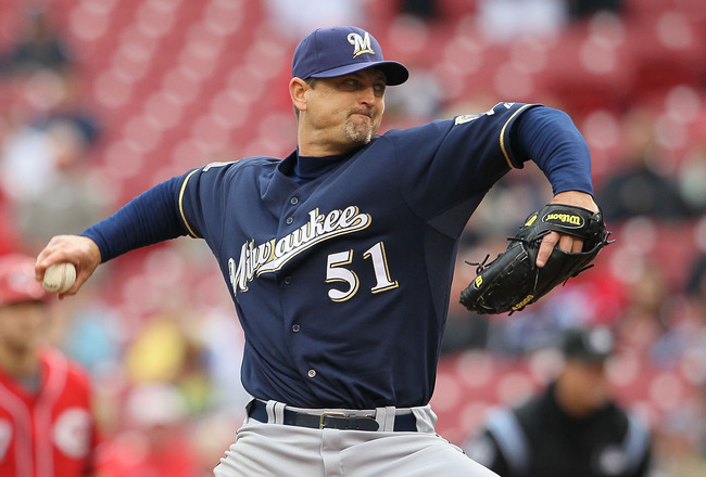 CINCINNATI - MAY 18:  Trevor Hoffman #51 of the Milwaukee Brewers throws a pitch in the 9th inning during the game against the Cincinnati Reds at Great American Ball Park on May 18, 2010 in Cincinnati, Ohio. The Reds won 5-4.  (Photo by Andy Lyons/Getty I