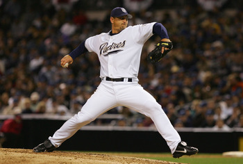 SAN DIEGO, CA - APRIL 7:  Trevor Hoffman #51 of the San Diego Padres pitches in relief against the Pittsburgh Pirates during the MLB game on April 7, 2005 at Petco Park in San Diego, California.  (Photo By Lisa Blumenfeld/Getty Images)