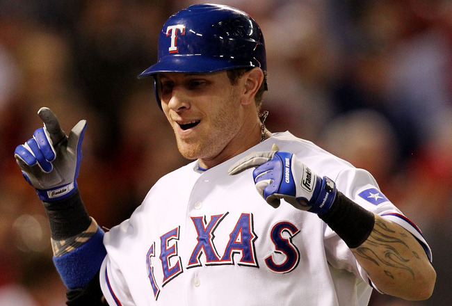 ARLINGTON, TX - OCTOBER 30:  Josh Hamilton #32 of the Texas Rangers celebrates a solo home run in the fifth inning against the San Francisco Giants in Game Three of the 2010 MLB World Series at Rangers Ballpark in Arlington on October 30, 2010 in Arlingto