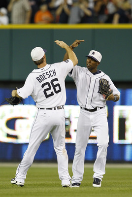 DETROIT - JULY 02: Brennan Boesch #26 and Austin Jackson #14 of the Detroit Tigers celebrate a 7-1 win over the Seattle Marines on July 2, 2010 at Comerica Park in Detroit, Michigan. (Photo by Leon Halip/Getty Images)