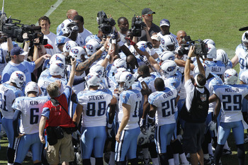 NASHVILLE - SEPTEMBER 12: The Tennessee Titans huddle together before the NFL season opener against the Oakland Raiders at LP Field on September 12, 2010 in Nashville, Tennessee. The Titans defeated the Raiders 38-13. (Photo by Joe Robbins/Getty Images)