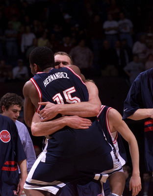 16 Mar 2001: Casey Calvary #31 of the Gonzaga Bulldogs hugs Alex Hernadez #15 after their game against the Virgina Cavaliers during the first round of the NCAA Tournament at the Pyramid in Memphis, Tennessee. DIGITAL IMAGE Mandatory Credit: Tom Hauck/ALLS