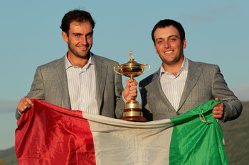 NEWPORT, WALES - OCTOBER 04:  (L-R) European Team members Edoardo and Francesco Molinari pose with the Ryder Cup following Europe's 14.5 to 13.5 victory over the USA at the 2010 Ryder Cup at the Celtic Manor Resort on October 4, 2010 in Newport, Wales.  (