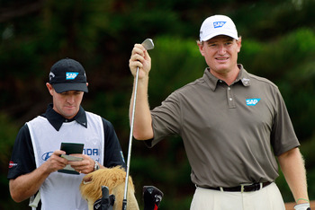KAPALUA, HI - JANUARY 07:  Ernie Els of South Africa looks over a shot on the 2nd hole during the second round of the Hyundai Tournament of Champions at the Plantation course on January 7, 2011 in Kapalua, Hawaii.  (Photo by Sam Greenwood/Getty Images)