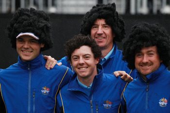 NEWPORT, WALES - SEPTEMBER 29:  (L-R) Martin Kaymer, Rory McIlroy, Caddie John McLaren and Graeme McDowell of Europe pose with wigs during a practice round prior to the 2010 Ryder Cup at the Celtic Manor Resort on September 29, 2010 in Newport, Wales.  (P