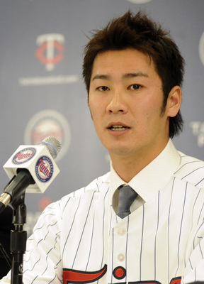 MINNEAPOLIS, MN - DECEMBER 18: Tsuyoshi Nishioka # of the Minnesota Twins speaks to members of the media during a press conference on December 18, 2010 at Target Field in Minneapolis, Minnesota. (Photo by Hannah Foslien/Getty Images)