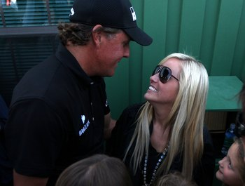 AUGUSTA, GA - APRIL 11:  Phil Mickelson and Amy Mickelson during the final round of the 2010 Masters Tournament at Augusta National Golf Club on April 11, 2010 in Augusta, Georgia.  (Photo by Streeter Lecka/Getty Images for Golf Week)