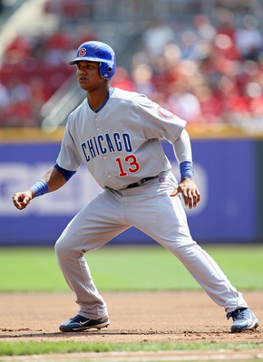 CINCINNATI - AUGUST 29:  Starlin Castro #13 of the Chicago Cubs leads off of first base during the game against the Cincinnati Reds at Great American Ball Park on August 29, 2010 in Cincinnati, Ohio.  (Photo by Andy Lyons/Getty Images)