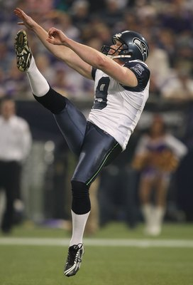 MINNEAPOLIS - NOVEMBER 22:  Jon Ryan #9 of the Seattle Seahawks punts against the Minnesota Vikings at Hubert H. Humphrey Metrodome on November 22, 2009 in Minneapolis, Minnesota.  (Photo by Nick Laham/Getty Images)