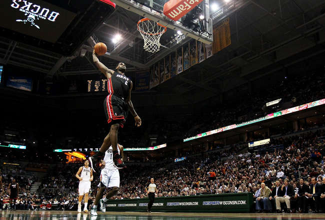 MILWAUKEE, WI - DECEMBER 06: LeBron James #6 of the Miami Heat goes up for a dunk against the Milwaukee Bucks at the Bradley Center on December 6, 2010 in Milwaukee, Wisconsin. The Heat defeated the Bucks 88-78. NOTE TO USER: User expressly acknowledges a