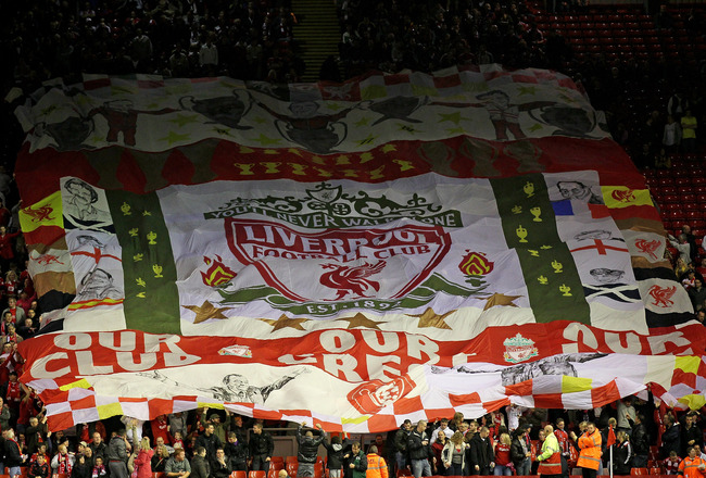 LIVERPOOL, ENGLAND - SEPTEMBER 16 :  Liverpool fans show their support with a giant banner during the UEFA Europa League Group K match beteween Liverpool and Steaua Bucharest at Anfield on September 16, 2010 in Liverpool, England.  (Photo by Alex Livesey/