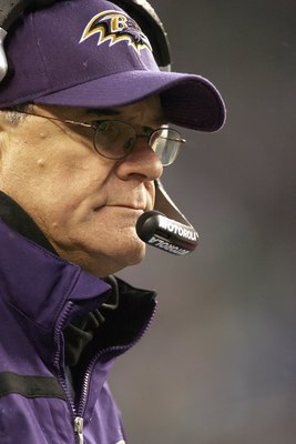 SEATTLE - DECEMBER 23: Head coach Brian Billick of the Baltimore Ravens looks on during the game against the Seattle Seahawks at Qwest Field on December 23, 2007 in Seattle, Washington. (Photo by Otto Greule Jr/Getty Images)