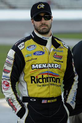 FORT WORTH, TX - NOVEMBER 05:  Paul Menard, driver of the #98 Richmond/Menards Ford, stands on the grid during qualifying for the NASCAR Nationwide Series O'Reilly Auto Parts Challenge at Texas Motor Speedway on November 5, 2010 in Fort Worth, Texas.  (Ph