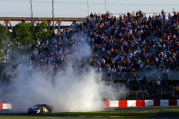 MONTREAL, QC - AUGUST 29:  Boris Said, driver of the #09 Zaxby's Ford celebrates by performing a burn out after winning the NASCAR Nationwide Series Napa Auto Parts 200 on August 29, 2010 at the Circuit Gilles Villeneuve in Montreal, Quebec, Canada.  (Pho