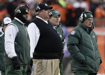 CINCINNATI - JANUARY 9:  (2nd from L) Head coach Rex Ryan of the New York Jets stands with members of his coaching staff during the 2010 AFC wild-card playoff game against the Cincinnati Bengals at Paul Brown Stadium on January 9, 2010 in Cincinnati, Ohio
