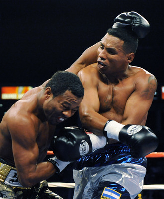 CARSON, CA - SEPTEMBER 27:  Ricardo Mayorga (R) of Nicaragua hits Shane Mosley in the first round during their junior middleweight bout at the Home Depot Center on September 27, 2008 in Carson, California.  Mosley went on to win in a 12th round knockout.