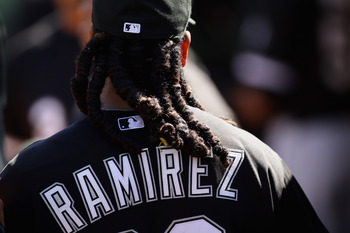 OAKLAND, CA - SEPTEMBER 22:  Manny Ramirez #99 of the Chicago White Sox walks through the dugout before their game against the Oakland Athletics at the Oakland-Alameda County Coliseum on September 22, 2010 in Oakland, California.  (Photo by Ezra Shaw/Gett