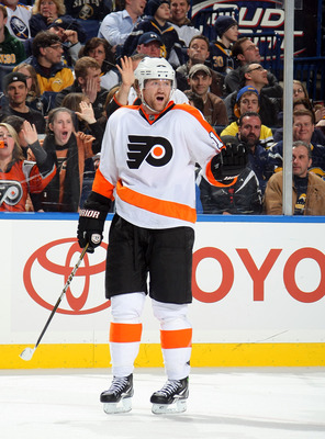 BUFFALO NY - JANUARY 11:  Scott Hatnell #19 of the Philadelphia Flyers celebrates his empty net goal against the Buffalo Sabres during their NHL game at HSBC Arena January 11, 2011 in Buffalo, New York. (Photo By Dave Sandford/Getty Images)