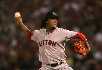 ST LOUIS - OCTOBER 26:  Starting pitcher Pedro Martinez #45 of the Boston Red Sox throws a pitch against the St. Louis Cardinals during the first inning of game three of the World Series on October 26, 2004 at Busch Stadium in St. Louis, Missouri. (Photo