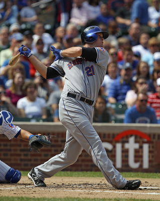 CHICAGO - SEPTEMBER 05: Lucas Duda #21 of the New York Mets takes a swing against the Chicago Cubs at Wrigley Field on September 5, 2010 in Chicago, Illinois. The Mets defeated the Cubs 18-5.  (Photo by Jonathan Daniel/Getty Images)
