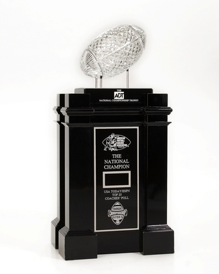 PASADENA, CA - JANUARY 4:  In this handout photo provided by ADT a general view of the Waterford Crystal ADT National Championship Trophy. The annual award is presented by the AFCA, American Football Coaches Association, to the winning NCAA team of the BC