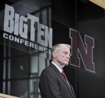 LINCOLN, NE  - JUNE 11: University of Nebraska Athletic Director Tom Osbourne looks on as Big Ten Commissioner James Delany welcomes the University of Nebraska into the Big Ten conference June 11, 2010  Lincoln, Nebraska.  The university will begin integr