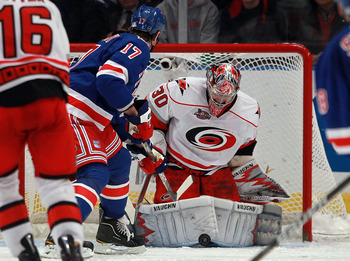 NEW YORK, NY - JANUARY 05: Cam Ward #30 of the Carolina Hurricanes skates against the New York Rangers at Madison Square Garden on January 5, 2011 in New York City. The Rangers defeated the Hurricanes 2-1 in overtime.  (Photo by Bruce Bennett/Getty Images