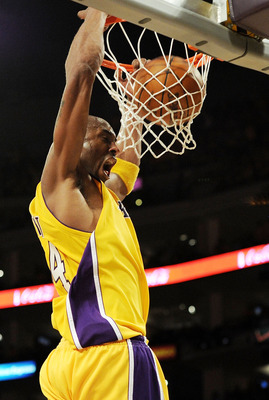 LOS ANGELES, CA - MAY 17:  Guard Kobe Bryant #24 of the Los Angeles Lakers dunks the ball against the Phoenix Suns in Game One of the Western Conference Finals during the 2010 NBA Playoffs at Staples Center on May 17, 2010 in Los Angeles, California. NOTE