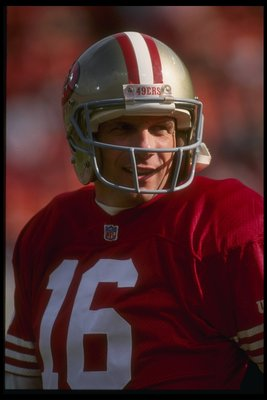 9 Jan 1993: A portrait of quarterback Joe Montana #16 of the San Francisco 49ers in action on the field during the 49ers 20-13 victory over the Washington Redskins in the NFC Divisional playoffs at Candlstick Park in San Francisco, California.