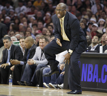 CLEVELAND - MAY 11:  Head coach Mike Brown of the Cleveland Cavaliers reacts after a foul call while playing the Boston Celtics in Game Five of the Eastern Conference Semifinals during the 2010 NBA Playoffs at Quicken Loans Arena on May 11, 2010 in Clevel