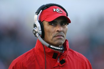 CINCINNATI - DECEMBER 28: Head coach Herm Edwards of the Kansas City Chiefs watches the action from the sidelines during the NFL game against the Cincinnati Bengals on December 28, 2008 at Paul Brown Stadium in Cincinnati, Ohio.  (Photo by Andy Lyons/Gett
