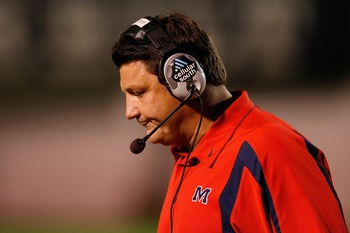NASHVILLE, TN - SEPTEMBER 15:  Head coach Ed Orgeron of the Ole Miss Rebels reacts to a play against the Vanderbilt Commodores on September 15, 2007 at Vanderbilt Stadium in Nashville, Tennessee.  The Commodores defeated the Rebels 31-17.  (Photo by Chris