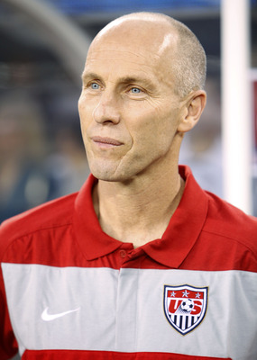 EAST RUTHERFORD, NJ - AUGUST 10:  Bob Bradley, head coach of United States Soccer stands on the sidelines before the first half of a friendly match at the New Meadowlands on August 10, 2010 in East Rutherford, New Jersey.  (Photo by Jeff Zelevansky/Getty