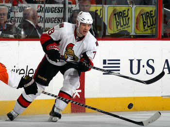 PHILADELPHIA - NOVEMBER 15:  Jarkko Ruutu #73 of the Ottawa Senators skates against the Philadelphia Flyers at the Wells Fargo Center on November 15, 2010 in Philadelphia, Pennsylvania.  (Photo by Bruce Bennett/Getty Images)
