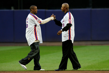NEW YORK - SEPTEMBER 28:  Former Mets Dwight Gooden and Daryl Strawberry greet for a post game ceremony after the last regular season baseball game ever played in Shea Stadium against the Florida Marlins on September 28, 2008 in the Flushing neighborhood
