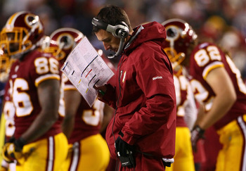 LANDOVER, MD - JANUARY 02:  Washington Redskins offensive coordinator Kyle Shanahan works in the sideline in the fourth quarter of a game against the New York Giants at FedEx Field on January 2, 2011 in Landover, Maryland. The Giants won the game 17-14.
