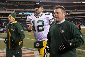 PHILADELPHIA, PA - JANUARY 09:  Aaron Rodgers #12 of the Green Bay Packers leaves the field after their 21 to 16 win over the Philadelphia Eagles during the 2011 NFC wild card playoff game at Lincoln Financial Field on January 9, 2011 in Philadelphia, Pen