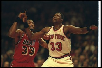 2 Dec 1996:  Center Alonzo Mourning of the Miami Heat (left) and New York Knicks center Patrick Ewing look for the ball during a game at Madison Square Garden in New York City, New York.  The Heat won the game, 99-75.     Mandatory Credit: Al Bello  /Alls