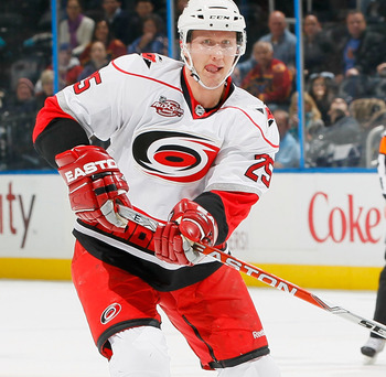 ATLANTA, GA - DECEMBER 16:  Joni Pitkanen #25 of the Carolina Hurricanes against the Atlanta Thrashers at Philips Arena on December 16, 2010 in Atlanta, Georgia.  (Photo by Kevin C. Cox/Getty Images)