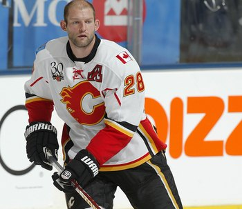 TORONTO, ON - NOVEMBER 14:  Robyn Regher #28 of the Calgary Flames skates in the pre game warm-up prior to a game against the Toronto Maple Leafs on November 14,2009 at the Air Canada Centre in Toronto, Ontario. The Flames won 5-2. (Photo by Claus Anderse